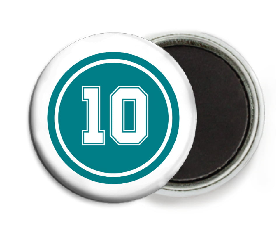 custom button magnets - teal & white - football (set of 6)