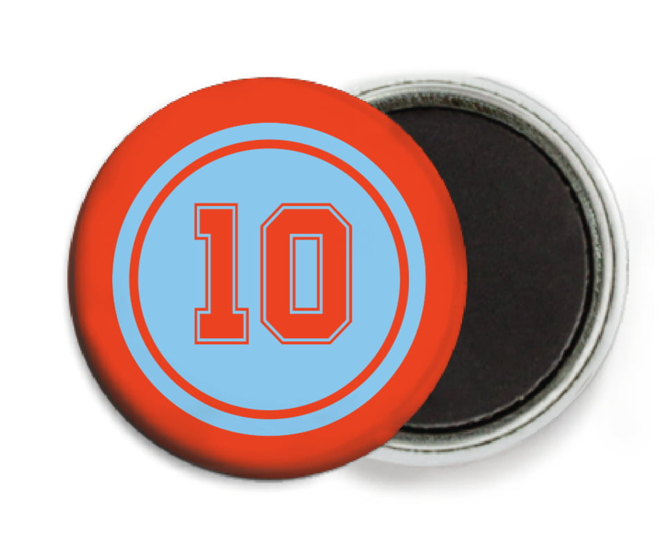 custom button magnets - light blue & orange - football (set of 6)