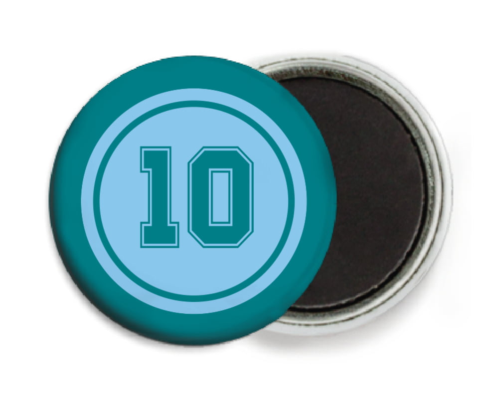 custom button magnets - light blue & teal - football (set of 6)