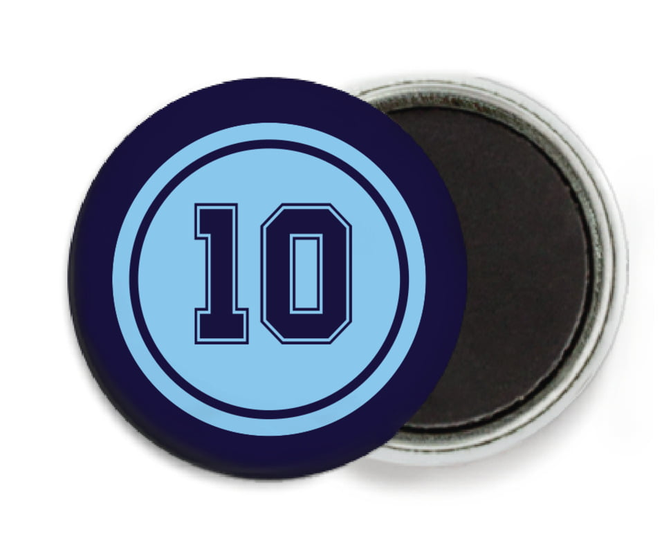 custom button magnets - light blue & navy - football (set of 6)