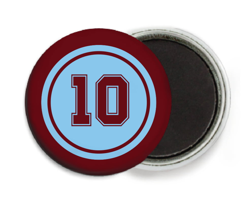 custom button magnets - light blue & maroon - football (set of 6)