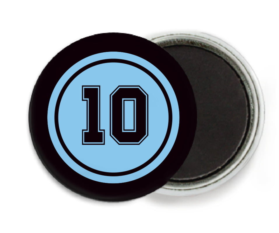 custom button magnets - light blue & black - football (set of 6)