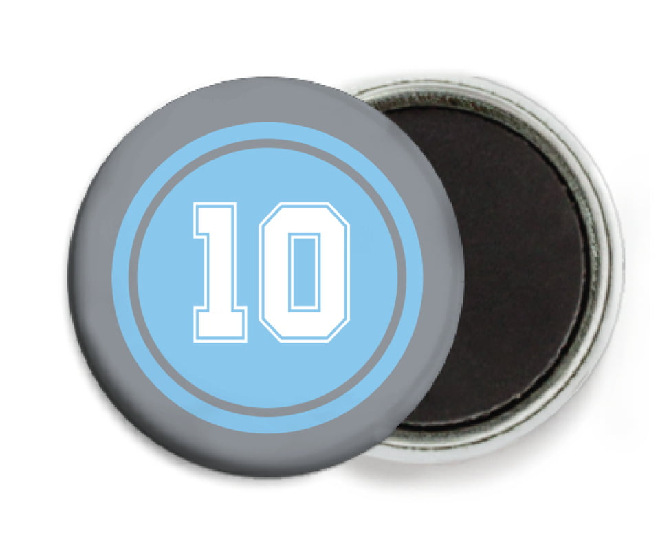 custom button magnets - light blue & silver - football (set of 6)