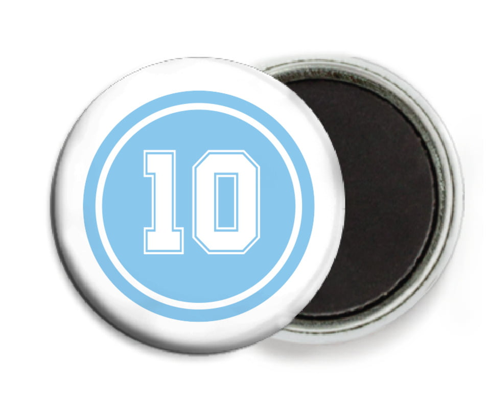custom button magnets - light blue & white - football (set of 6)