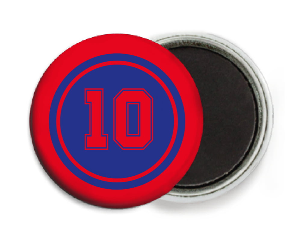 custom button magnets - royal & red - football (set of 6)