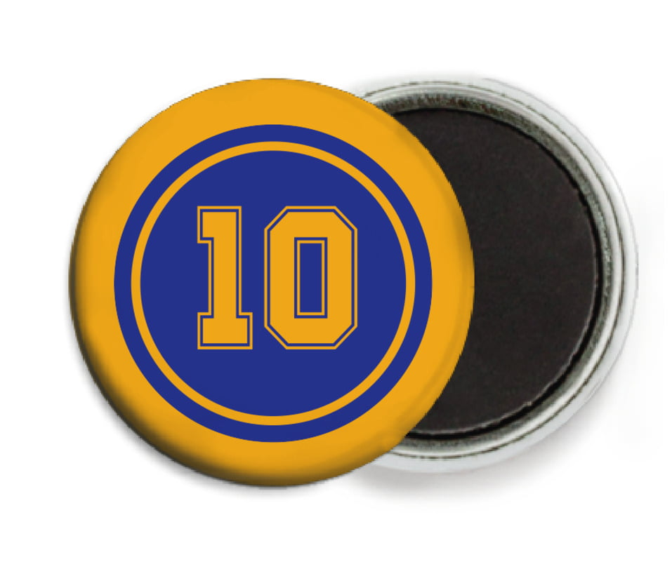 custom button magnets - royal & gold - football (set of 6)