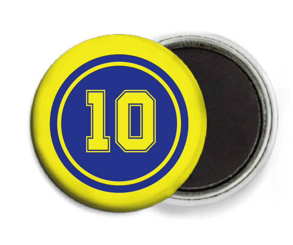 custom button magnets - royal & yellow - football (set of 6)