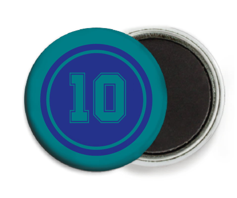 custom button magnets - royal & teal - football (set of 6)