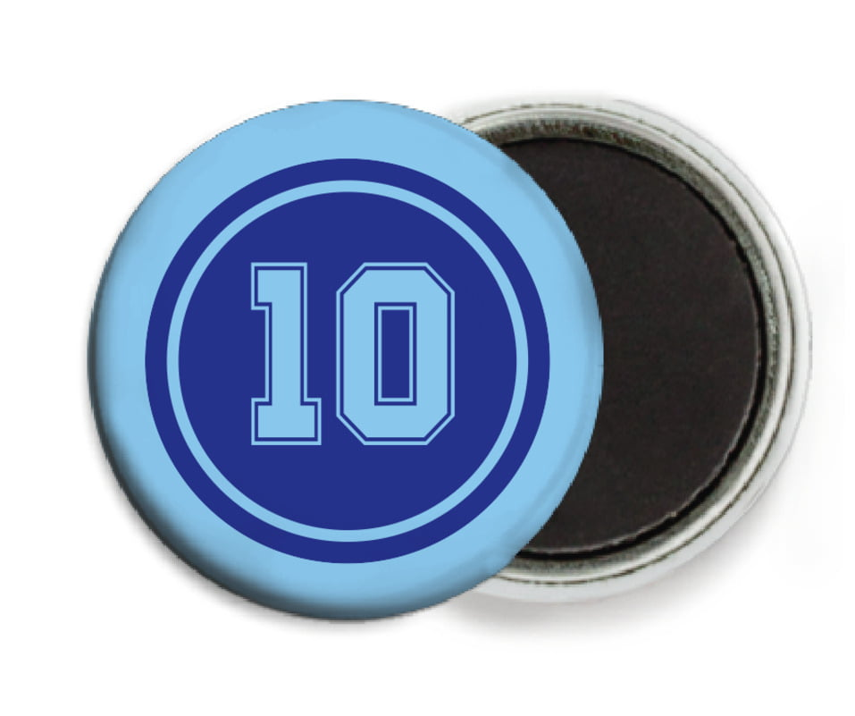 custom button magnets - royal & light blue - football (set of 6)