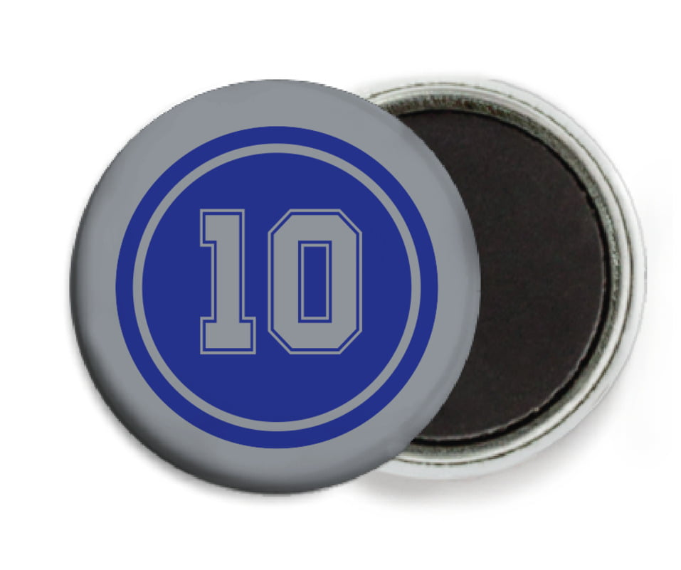custom button magnets - royal & silver - football (set of 6)