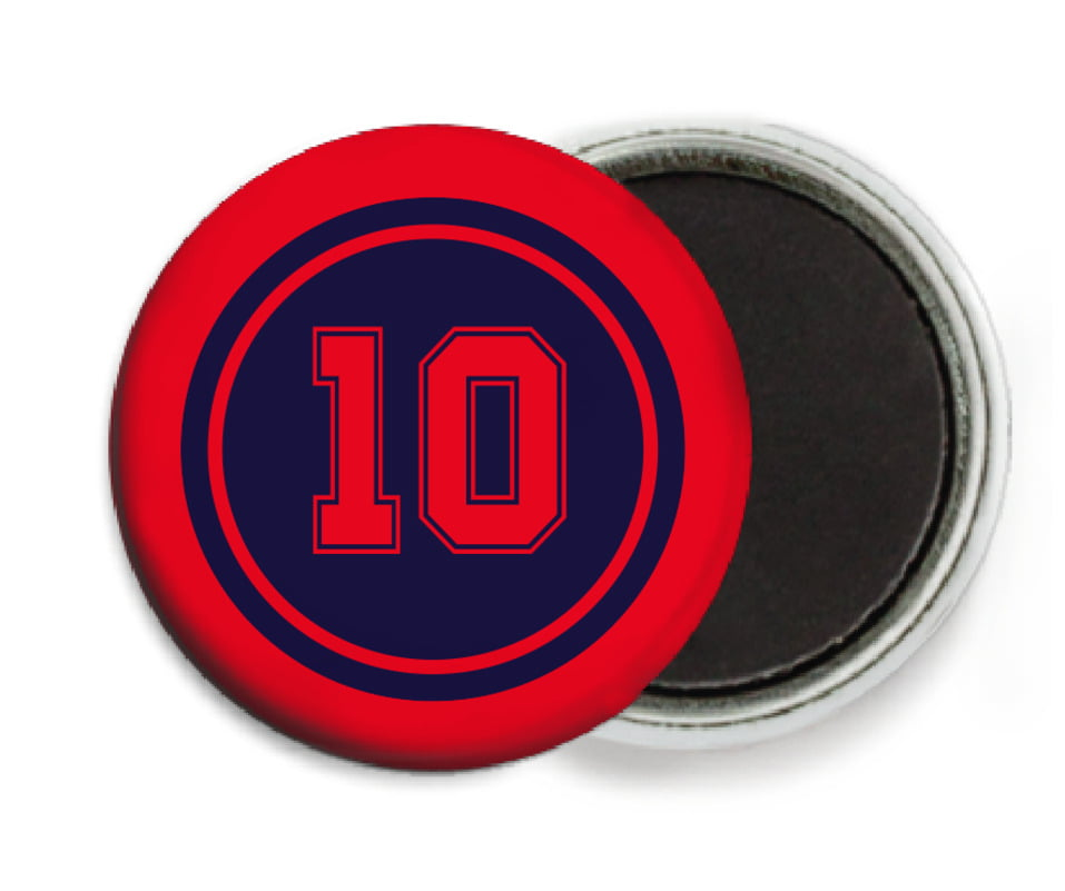 custom button magnets - navy & red - football (set of 6)