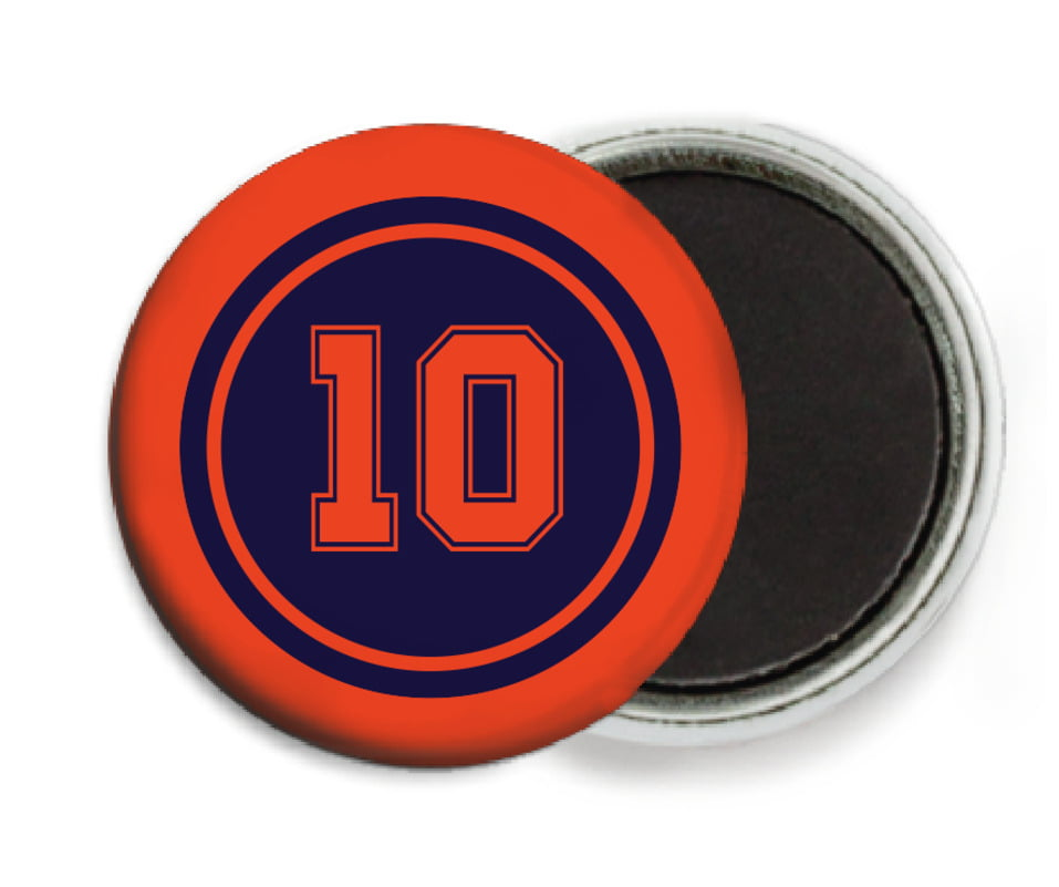 custom button magnets - navy & orange - football (set of 6)