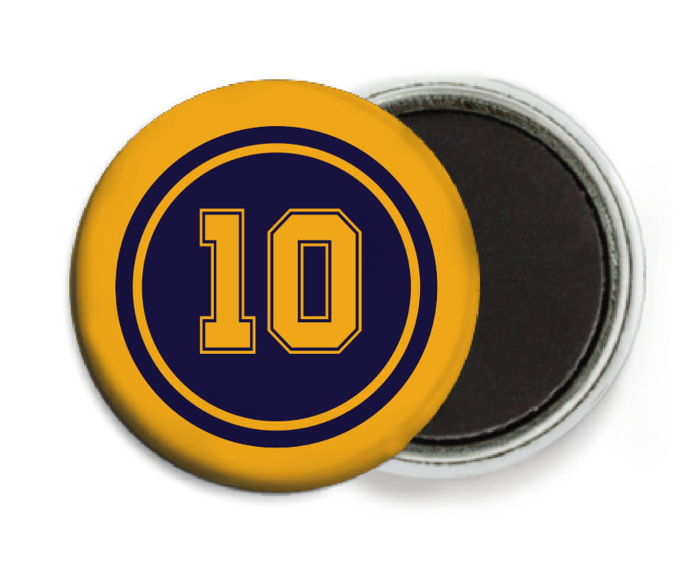 custom button magnets - navy & gold - football (set of 6)