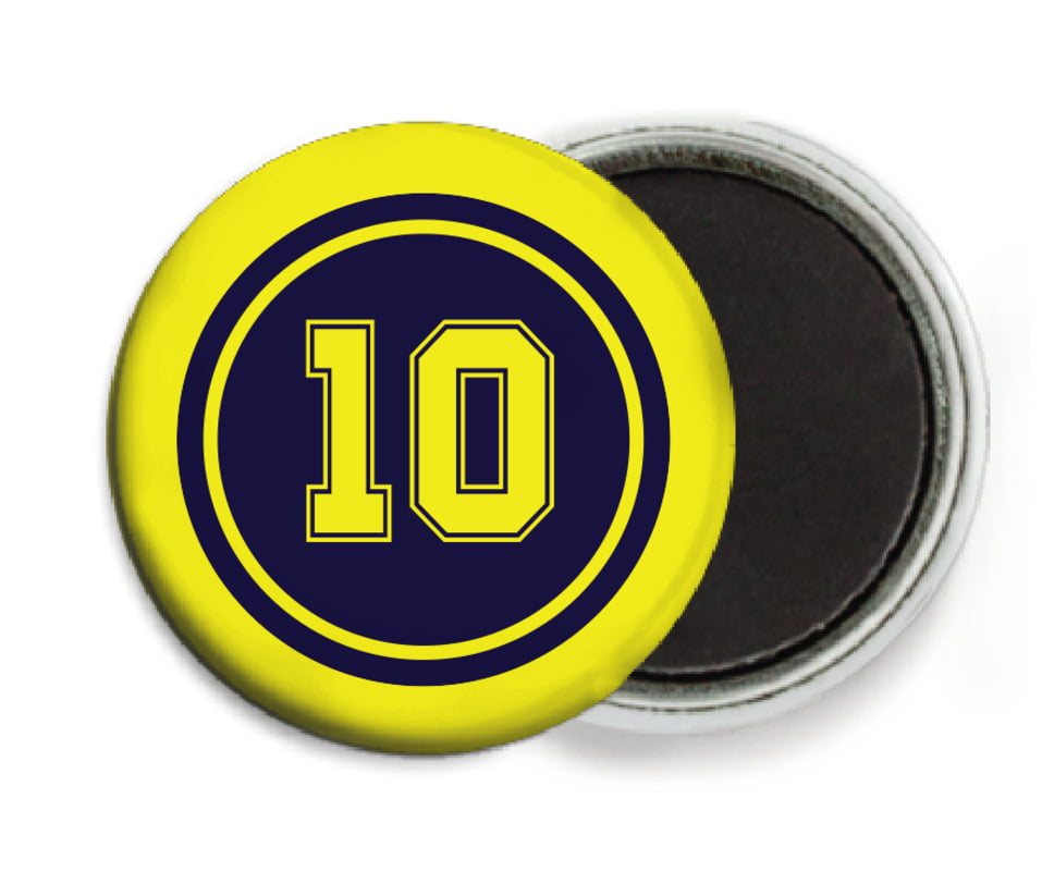 custom button magnets - navy & yellow - football (set of 6)