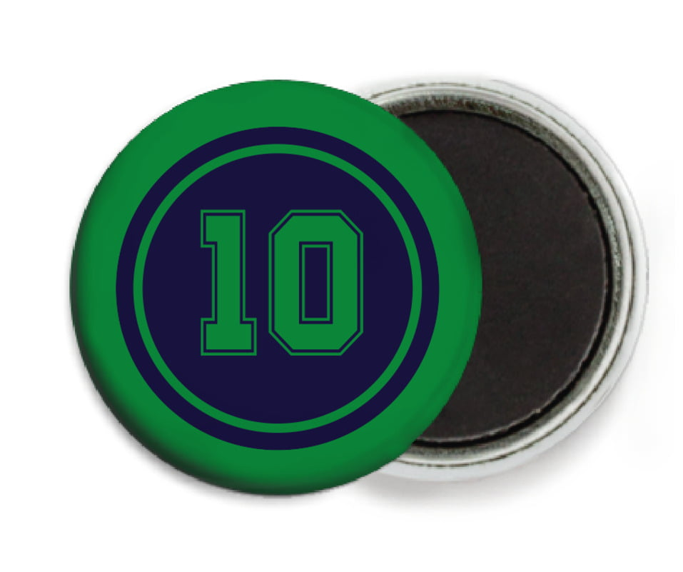 custom button magnets - navy & green - football (set of 6)