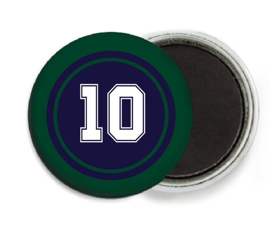 custom button magnets - navy & forest - football (set of 6)