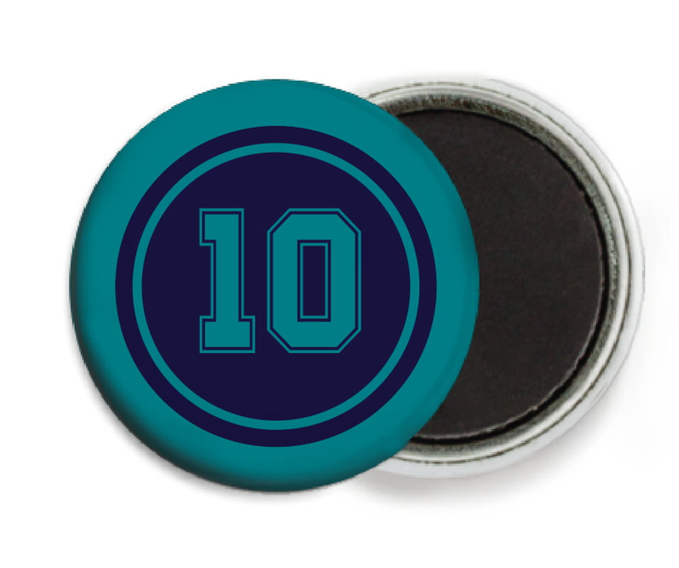 custom button magnets - navy & teal - football (set of 6)