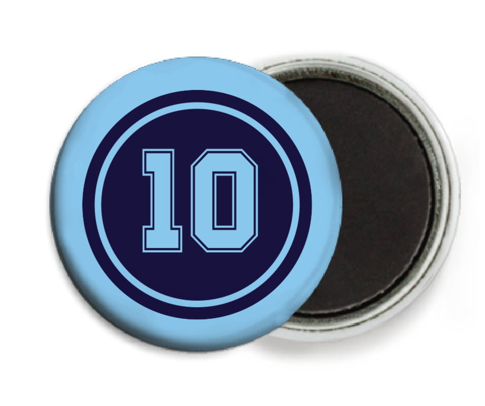 custom button magnets - navy & light blue - football (set of 6)