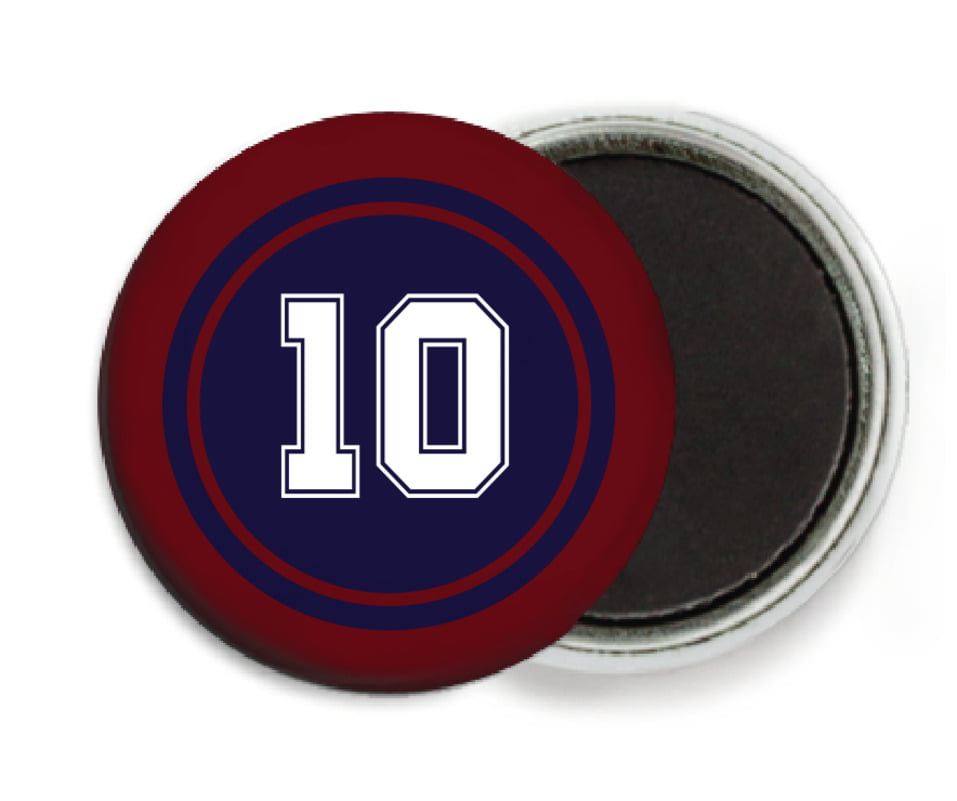 custom button magnets - navy & maroon - football (set of 6)