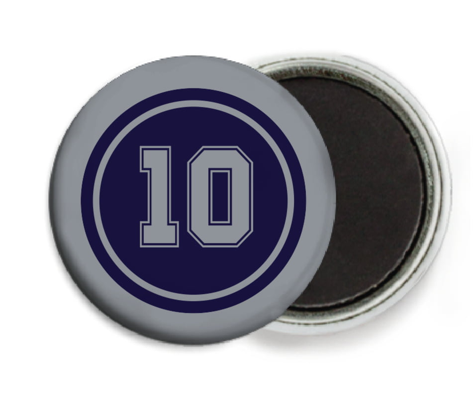 custom button magnets - navy & silver - football (set of 6)