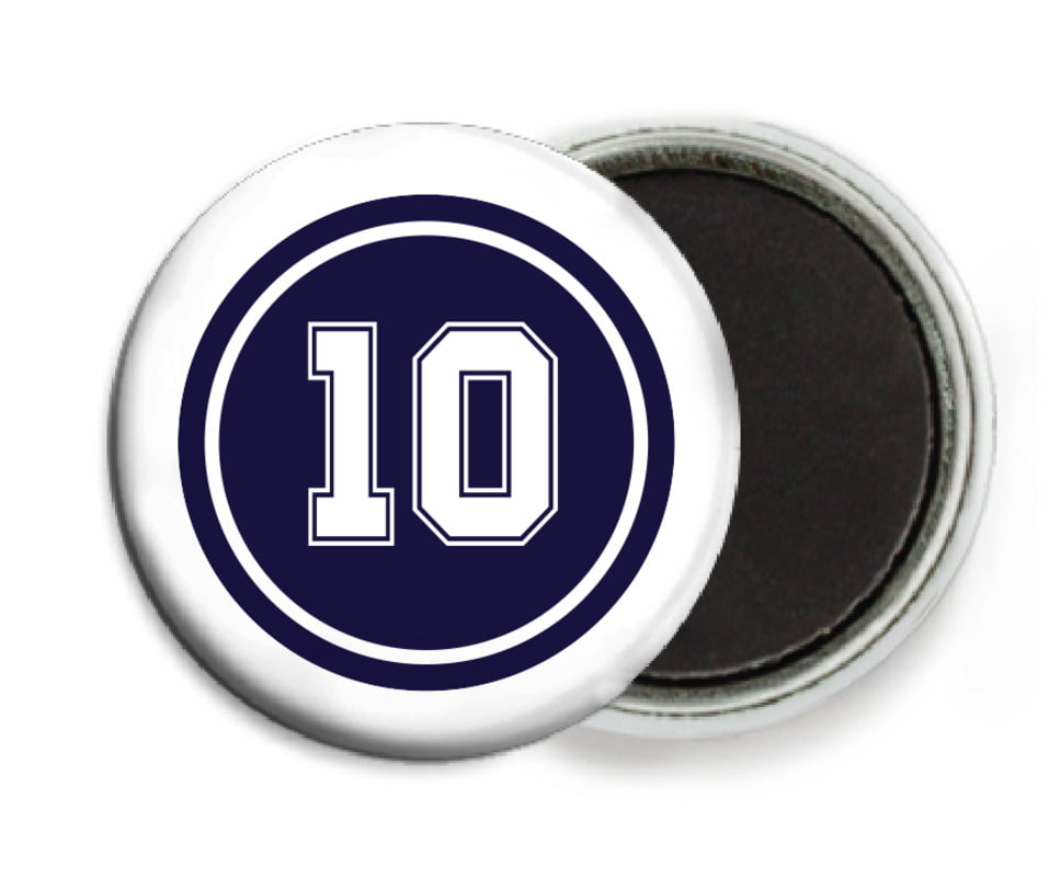 custom button magnets - navy & white - football (set of 6)