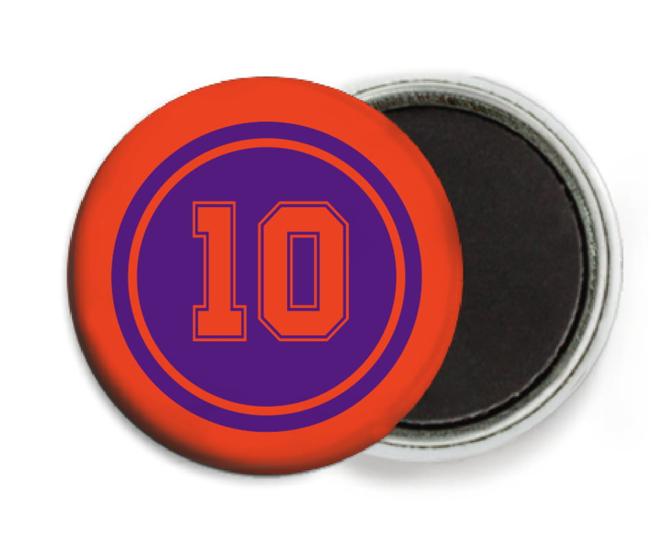 custom button magnets - purple & orange - football (set of 6)