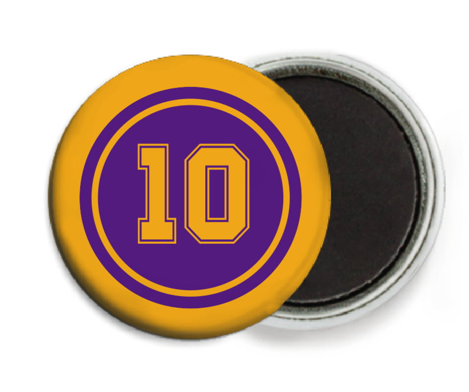 custom button magnets - purple & gold - football (set of 6)