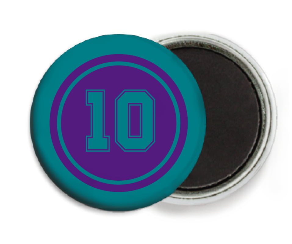 custom button magnets - purple & teal - football (set of 6)