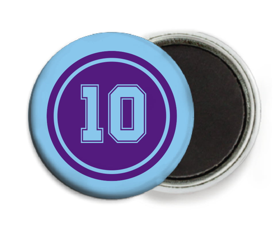 custom button magnets - purple & light blue - football (set of 6)