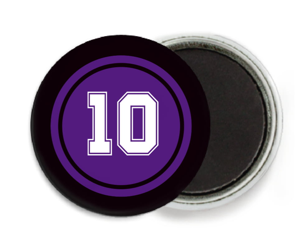 custom button magnets - purple & black - football (set of 6)