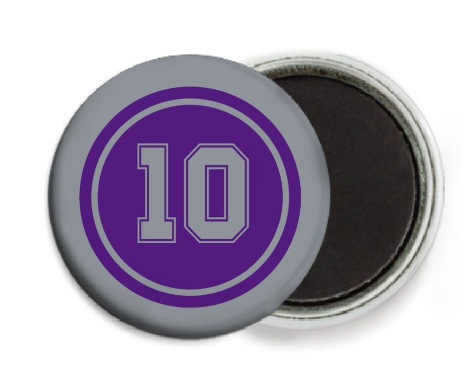 custom button magnets - purple & silver - football (set of 6)