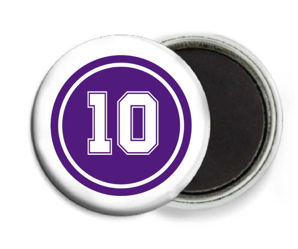 custom button magnets - purple & white - football (set of 6)