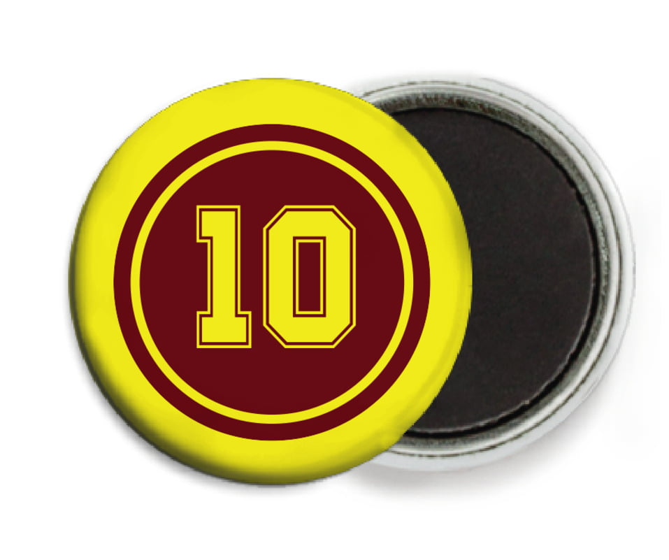 custom button magnets - maroon & yellow - football (set of 6)