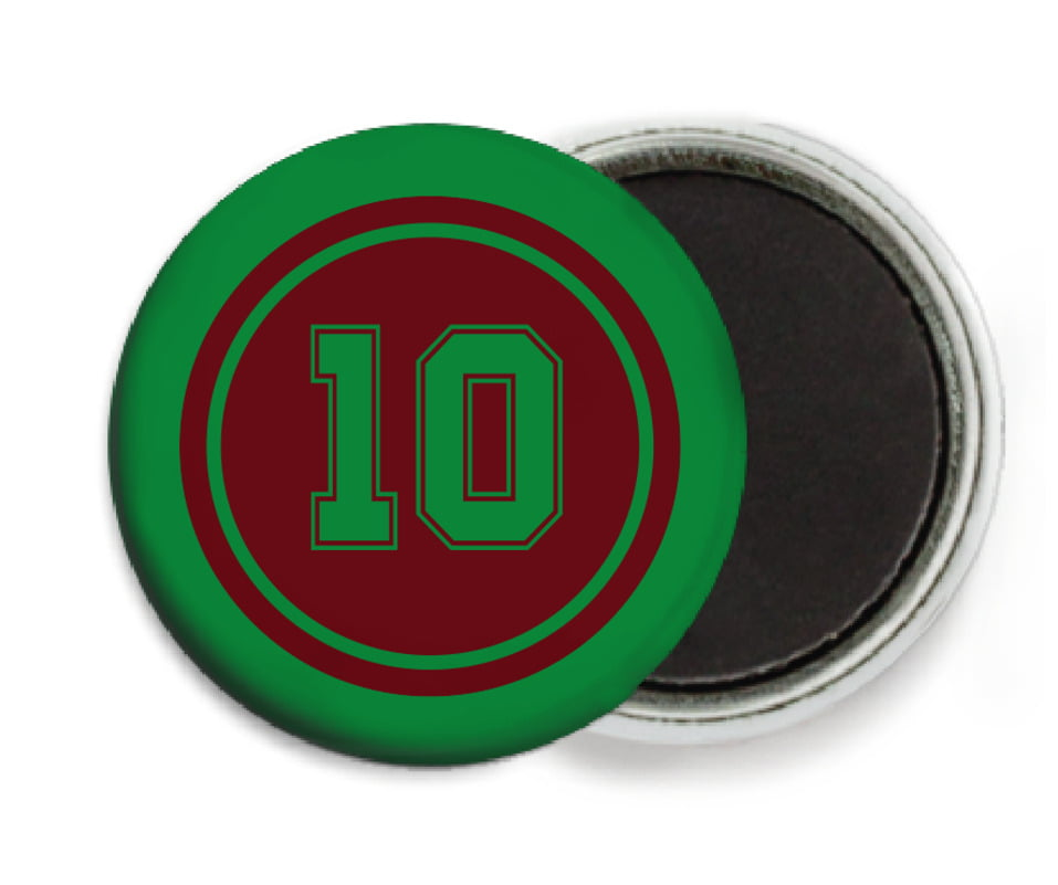 custom button magnets - maroon & green - football (set of 6)
