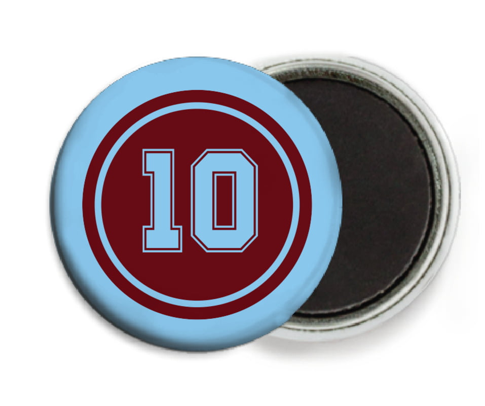 custom button magnets - maroon & light blue - football (set of 6)