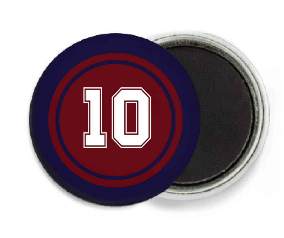 custom button magnets - maroon & navy - football (set of 6)