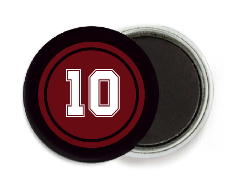 custom button magnets - maroon & black - football (set of 6)