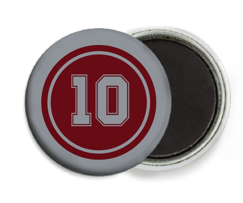 custom button magnets - maroon & silver - football (set of 6)