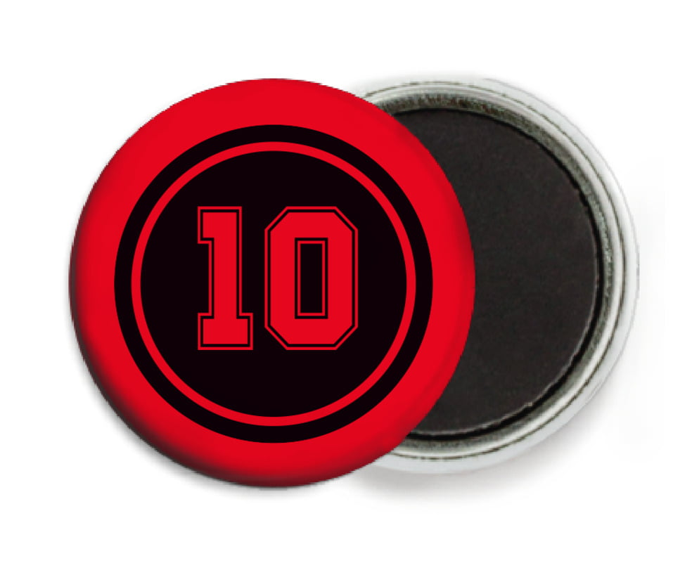 custom button magnets - black & red - football (set of 6)