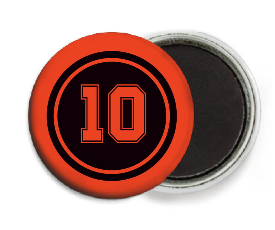 custom button magnets - black & orange - football (set of 6)