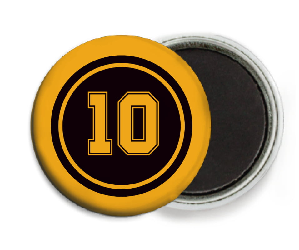 custom button magnets - black & gold - football (set of 6)