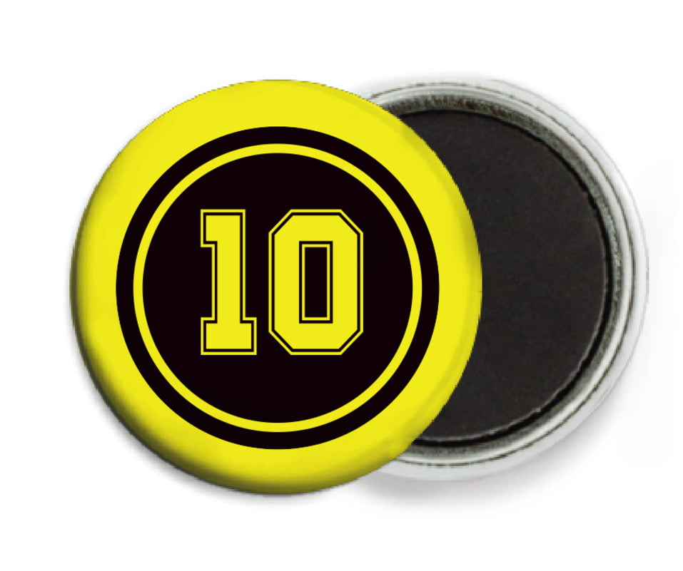 custom button magnets - black & yellow - football (set of 6)