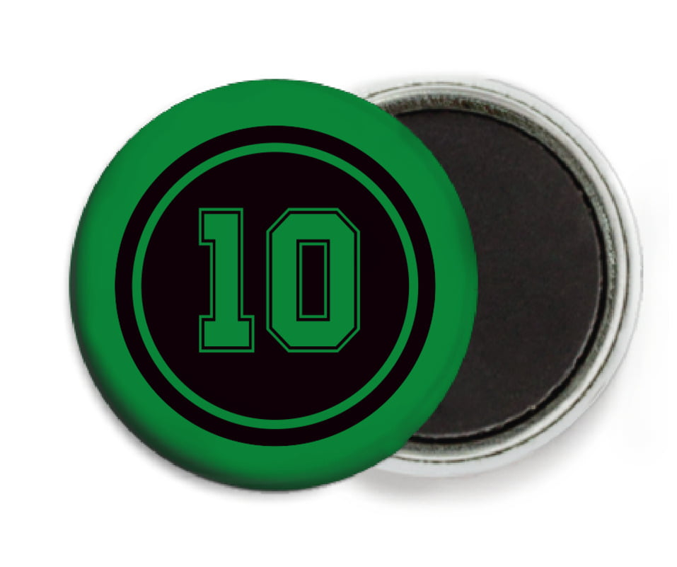 custom button magnets - black & green - football (set of 6)