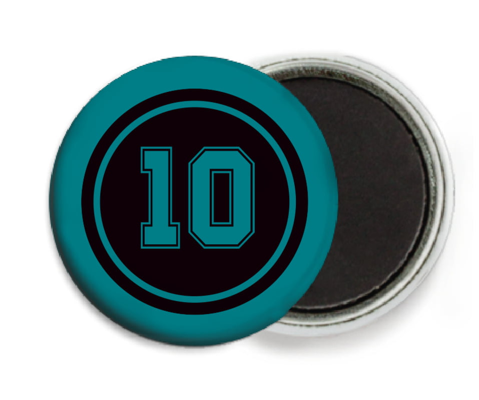 custom button magnets - black & teal - football (set of 6)