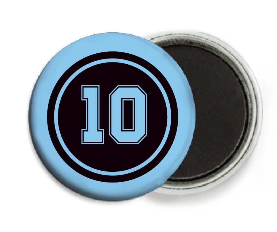 custom button magnets - black & light blue - football (set of 6)