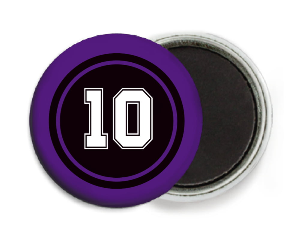 custom button magnets - black & purple - football (set of 6)