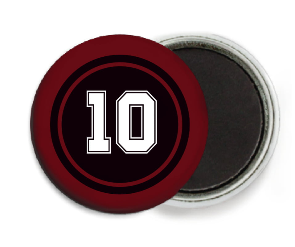 custom button magnets - black & maroon - football (set of 6)