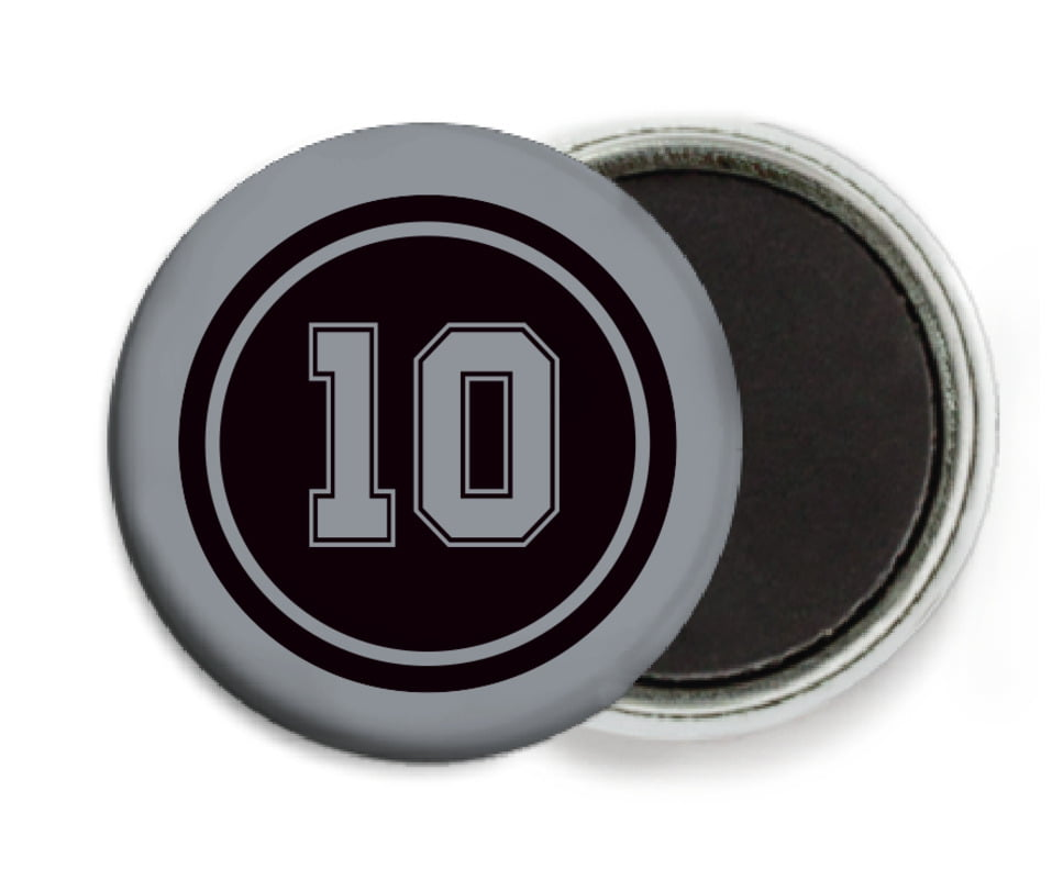 custom button magnets - black & silver - football (set of 6)