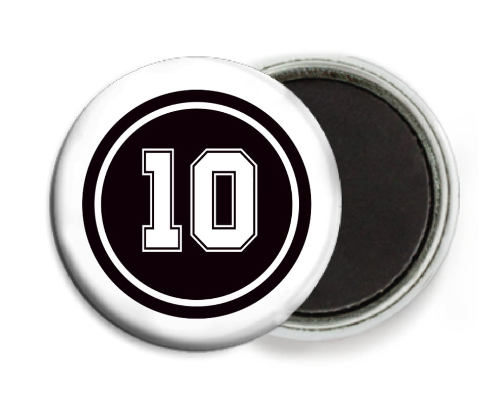 custom button magnets - black & white - football (set of 6)