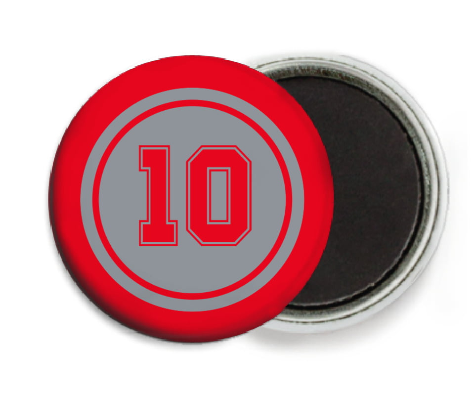 custom button magnets - silver & red - football (set of 6)